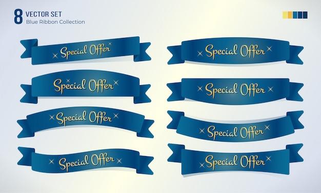 Définir Le Ruban Bleu Avec Le Texte Promotionnel De L'offre Spéciale Vecteur Premium