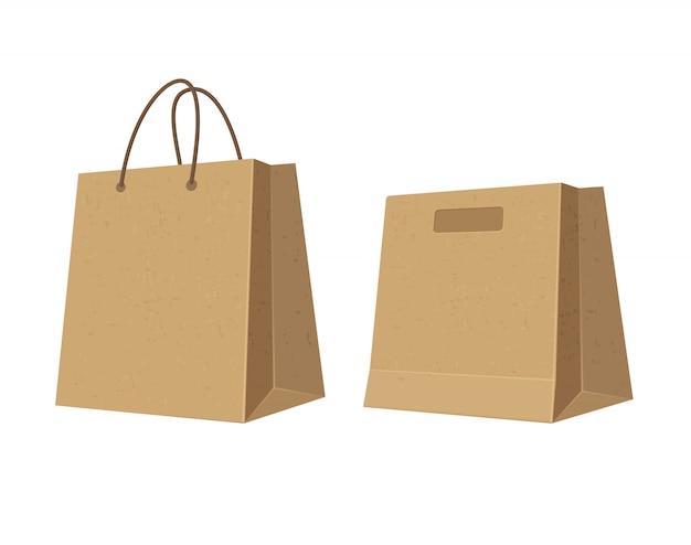 Définir Des Sacs à Provisions En Papier Brun. Illustration Couleur Plate. Vecteur Premium