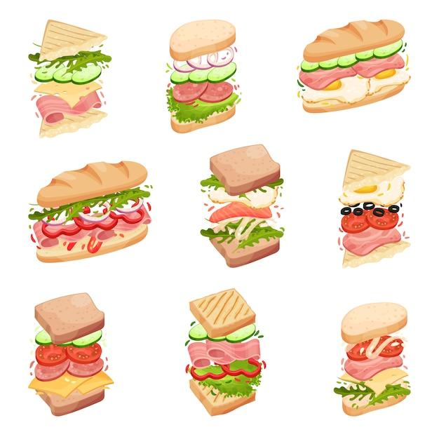 Définir Des Sandwichs. Dans Un Pain, Toasts Carrés Et Triangulaires, Avec Des Garnitures Différentes. Illustration. Vecteur Premium