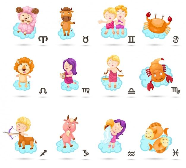 Définir les signes du zodiaque de dessin animé Vecteur Premium