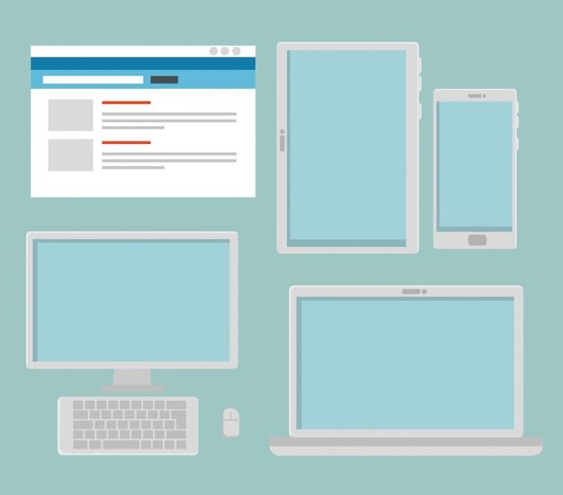 Définir le site web avec ordinateur et tablette avec smartphone Vecteur gratuit
