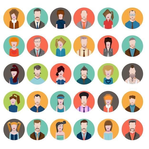 Définir le style plat des avatars hommes femmes Vecteur Premium