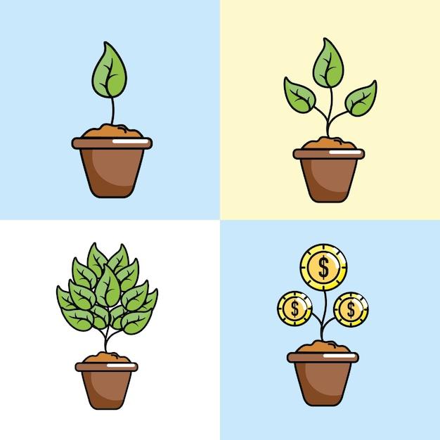 Définir le support commercial de la stratégie de financement participatif Vecteur Premium