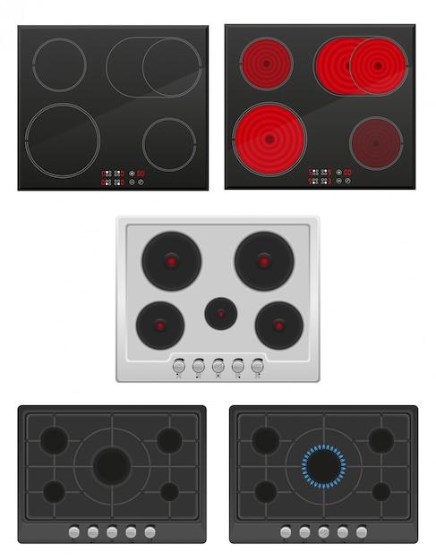 Définir la surface pour l'illustration vectorielle cuisinière à gaz et électrique Vecteur Premium