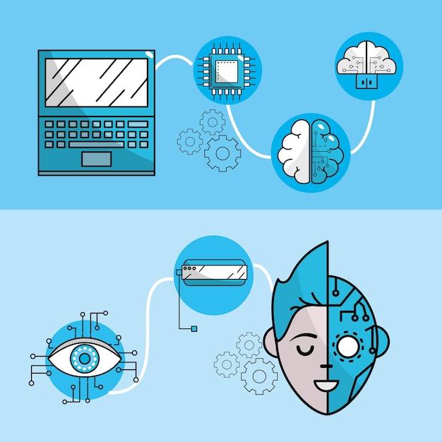 Définir les technologies du futur avec un système d'information global Vecteur Premium