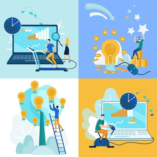 Définir le travail de publicité dépliant sur plat de dessin animé d'idée. Vecteur Premium