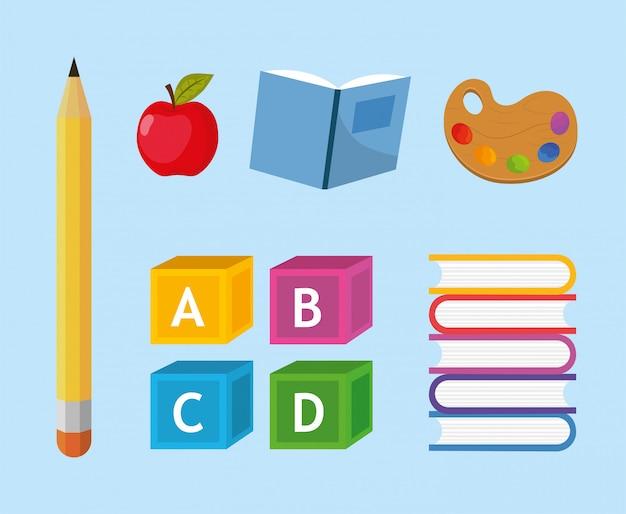 Définir des ustensiles créatifs d'école d'éducation Vecteur Premium