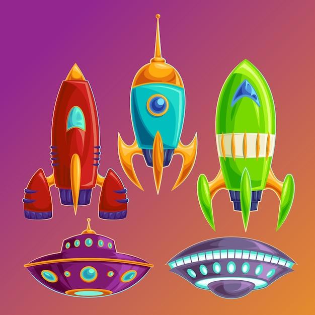 Définir des vaisseaux spatiaux amusants et des ovnis Vecteur gratuit