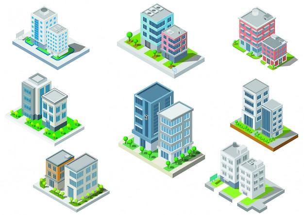 Définir le vecteur de bâtiment isométrique. ils sont sur la cour, rivière avec route. bâtiment 3d, ville intelligente Vecteur Premium