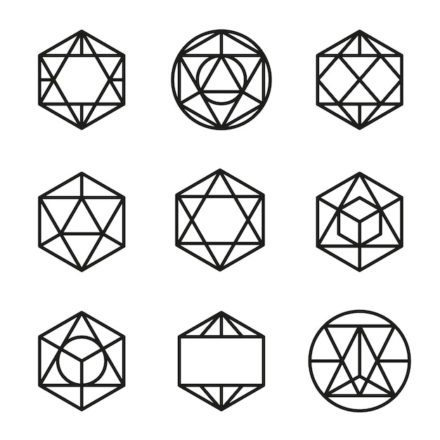 Définir le vecteur de formes géométriques abstraites Vecteur gratuit