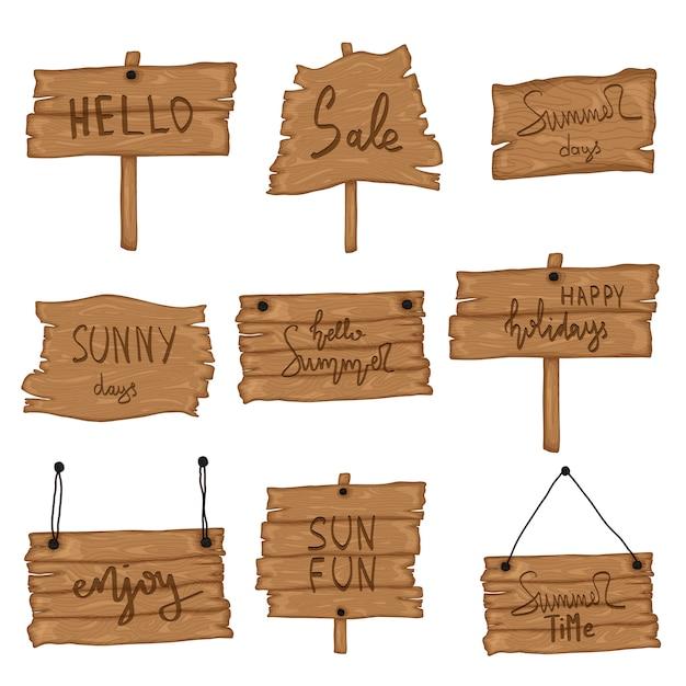 Définir une vieille enseigne en bois dans un style cartoon rétro isolé sur fond blanc. beach party, soldes, bonjour l'été Vecteur Premium