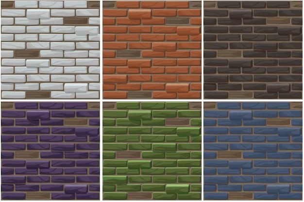 Définir Le Vieux Fond Transparent De Mur De Brique. Collection De Textures De Brique De Couleur Différente. Vecteur Premium