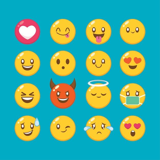 Définir Les Yeux Et La Bouche De Kawaii Cute Faces. émoticône Drôle De Bande Dessinée Dans Différentes Expressions Pour Le Caractère D'expression De Réseaux Sociaux Et L'illustration De Visage D'émoticône Vecteur Premium