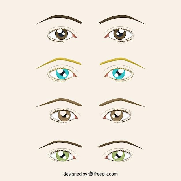 Définir des yeux et des sourcils dessinés à la main Vecteur gratuit