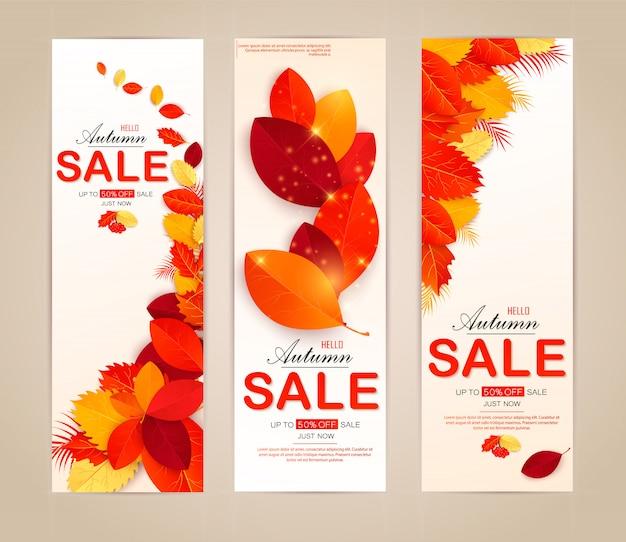Définissez la bannière avec les feuilles d'automne rouges, orange, brunes et jaunes. Vecteur Premium