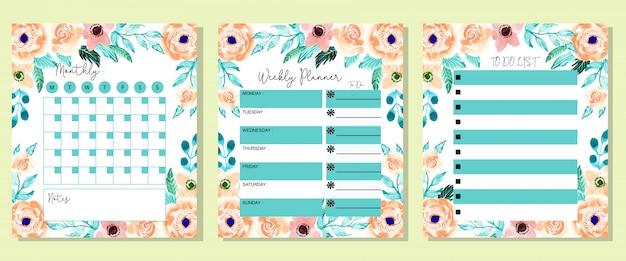 Définissez belle hebdomadaire mensuel et à faire la liste planificateur fleur d'aquarelle Vecteur Premium