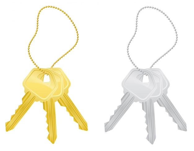 Définissez les clés de la porte. Vecteur Premium