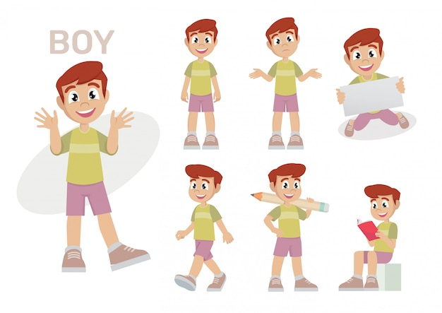 Définissez enfants garçons enfants. Vecteur Premium