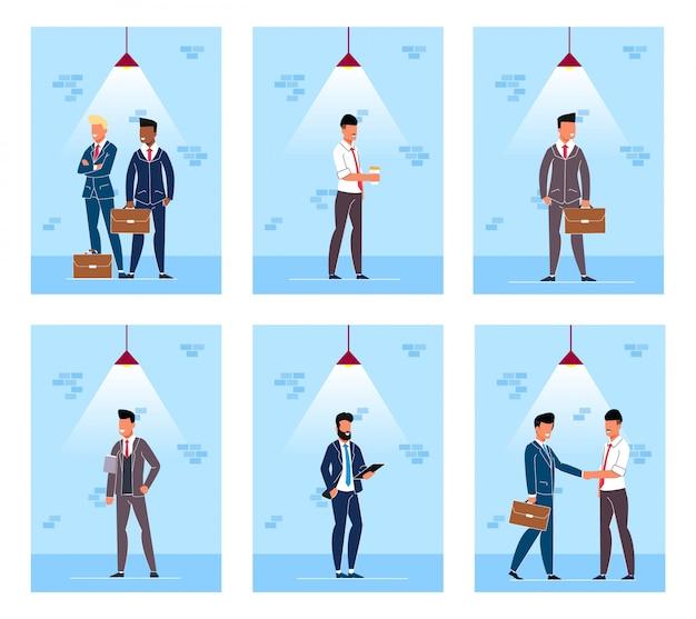 Définissez flyer people under cartoon lamp cartoon. Vecteur Premium