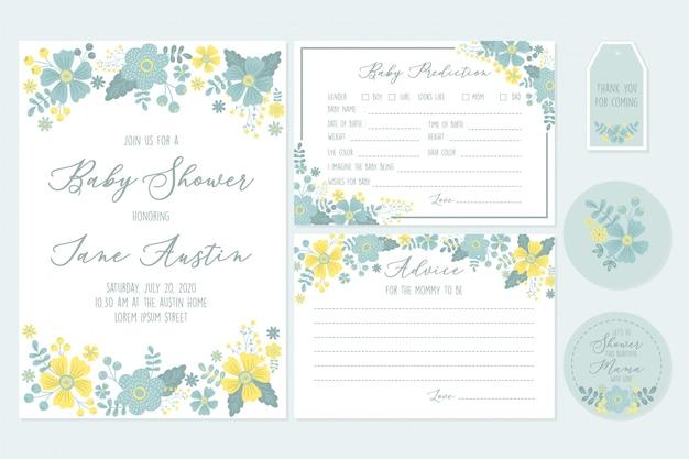 Définissez des modèles imprimables pour des invitations de fête de naissance avec des souhaits floraux et de bébé pour le nouveau-né Vecteur Premium