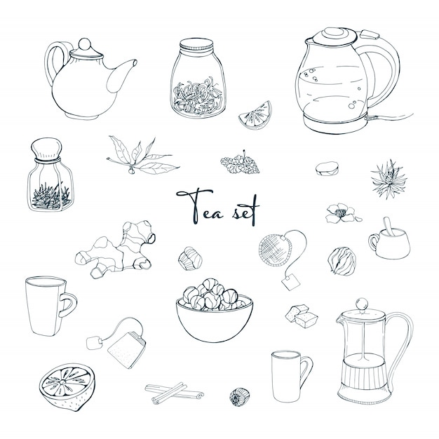 Définissez Des Objets De Thé. Collection Avec Bouilloire Dessinée à La Main, Pot, Citron, Feuille, Tasse, Gingembre, Cannelle. Illustration. Vecteur Premium