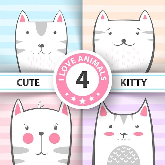Définissez des personnages mignons et jolis pour les chats et les chatons. Vecteur Premium