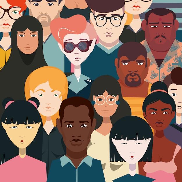 Définissez des personnes de différentes nationalités, vêtements colorés, différentes coiffures, couleur de peau, style de vêtement. foule de gens. Vecteur Premium
