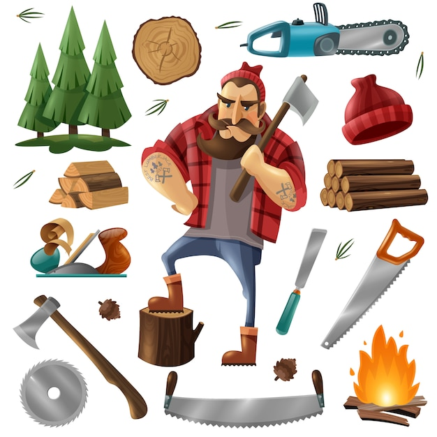 Déforestation lumberjack icon set Vecteur gratuit