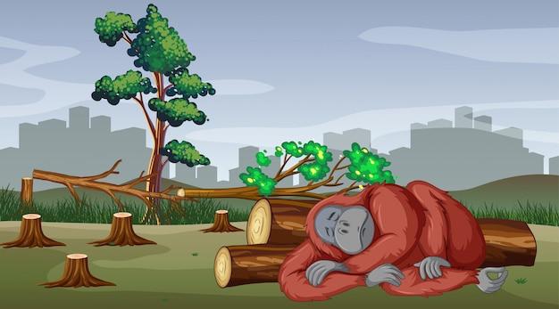 Déforestation avec la mort du gorille Vecteur gratuit