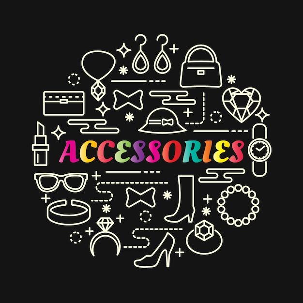 Dégradé Coloré D'accessoires Avec Jeu D'icônes De Ligne Vecteur Premium