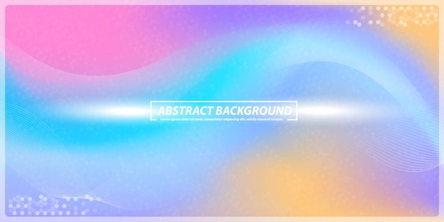 Dégradé et lignes abstraites bokeh rainbow banner background Vecteur Premium