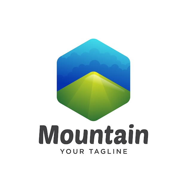 Dégradé logo montagne Vecteur Premium
