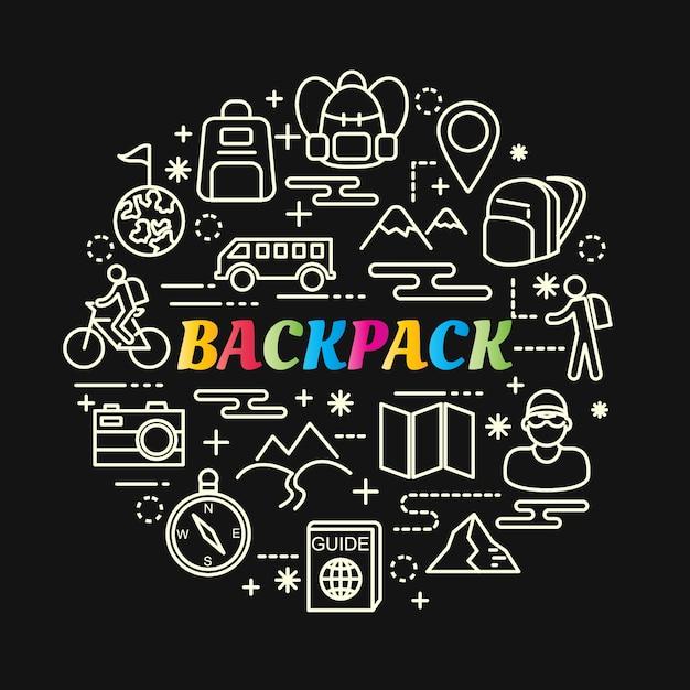 Dégradé de sac à dos coloré avec jeu d'icônes de ligne Vecteur Premium
