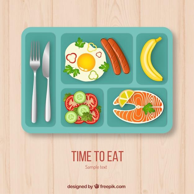Déjeuner plateau de nourriture Vecteur gratuit