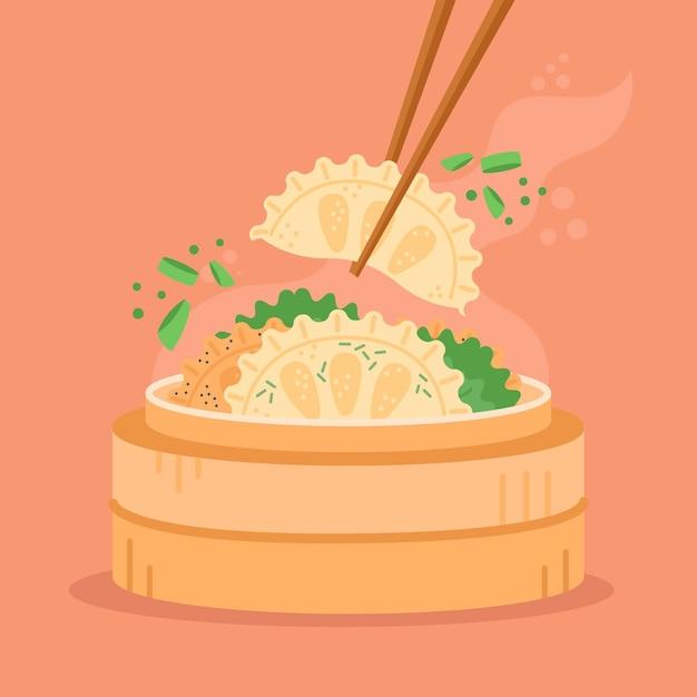 Délicieuse Nourriture Traditionnelle De Gyozas Au Design Plat Vecteur gratuit
