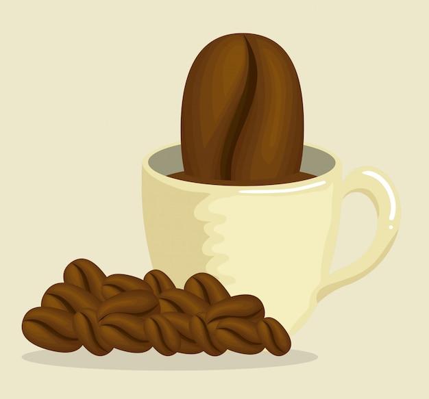 Délicieuse tasse à café avec grains de café Vecteur gratuit