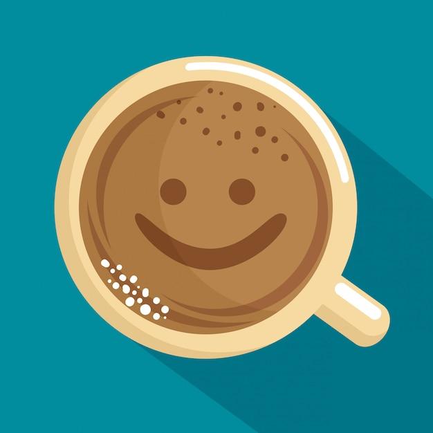 Délicieuse tasse à café avec visage Vecteur gratuit