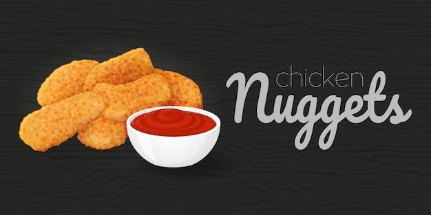 Délicieuses Pépites De Poulet Au Ketchup Sur Fond Noir Bois. Illustration. Fast Food. Style De Bande Dessinée. Vecteur Premium