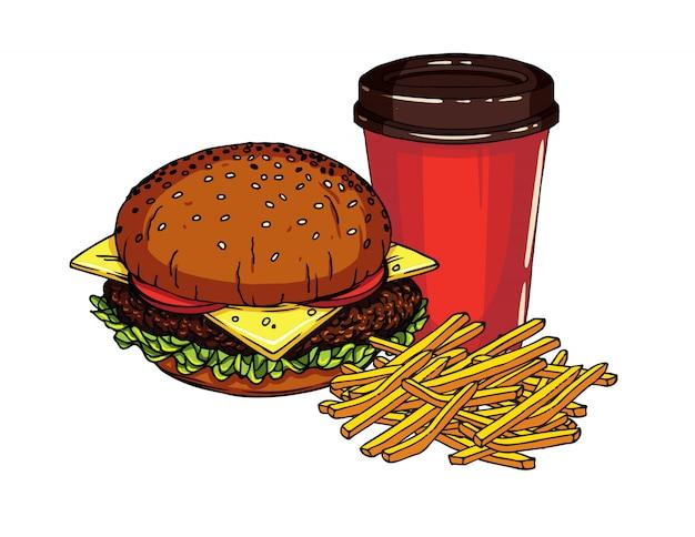 Délicieux Cheeseburger Frais Avec Des Frites Et Une Tasse De Soda Vecteur Premium