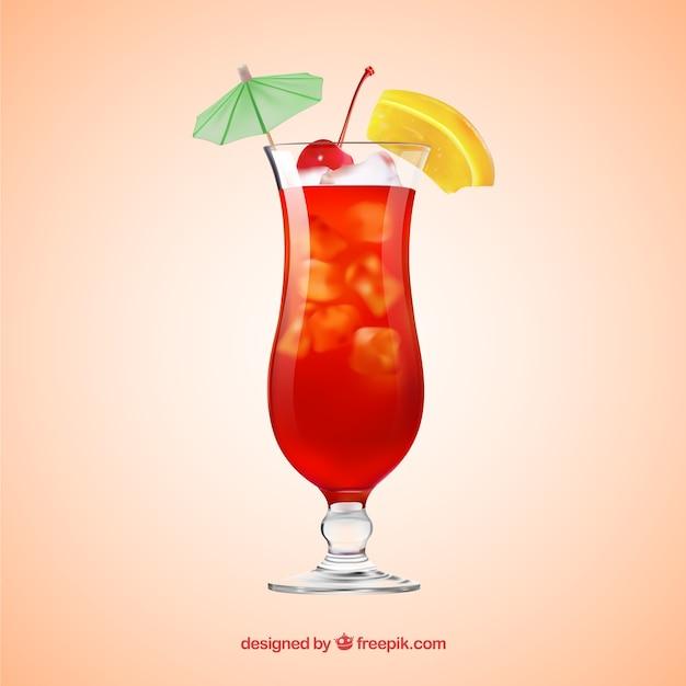 Délicieux cocktail dans un style réaliste Vecteur gratuit