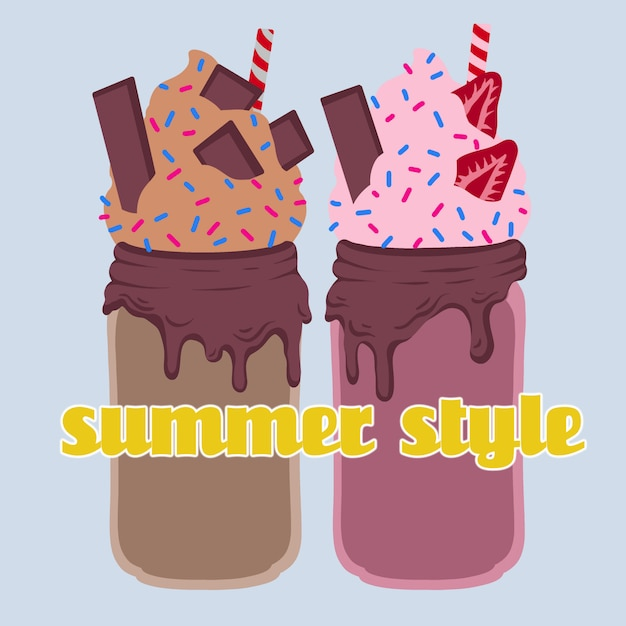Délicieux cocktail d'été au chocolat et aux fraises. illustration vectorielle Vecteur Premium