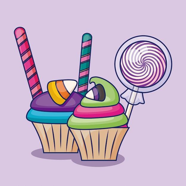Délicieux cupcakes sucrés avec des bonbons Vecteur gratuit