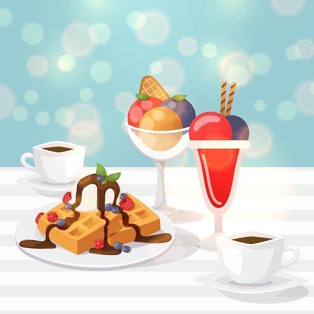 Délicieux Desserts Au Café, Gaufres Belges, Verre à La Glace Colorée Vecteur Premium