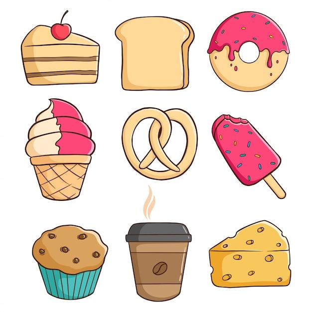 Délicieux éléments De Pâtisserie Avec Beignet, Tranche De Gâteau, Crème Glacée Et Cupcake Vecteur Premium