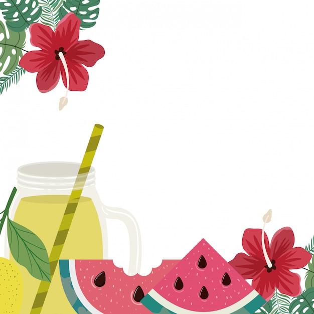 Délicieux fruits tropicaux Vecteur gratuit