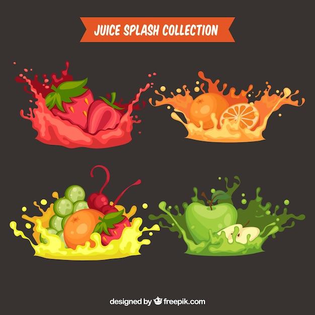 Délicieux jus éclabousse la collection avec des fruits Vecteur gratuit