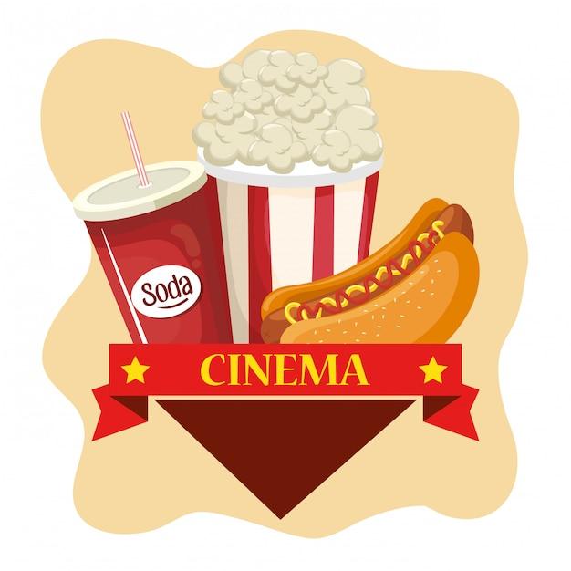 Délicieux Menu De Nourriture De Cinéma Vecteur gratuit