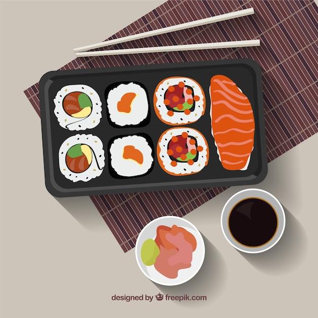Délicieux menu sushi Vecteur gratuit