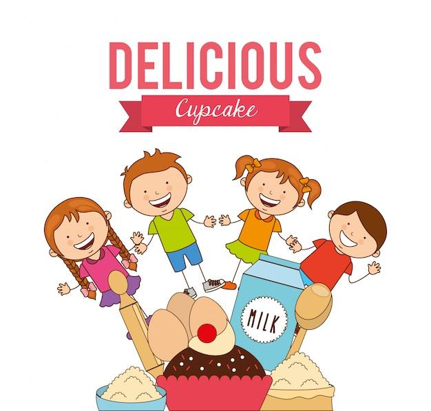 Délicieux Petit Gâteau Vecteur Premium
