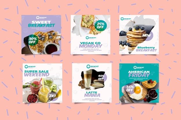 Délicieux Petits Déjeuners Sur Les Réseaux Sociaux Vecteur gratuit